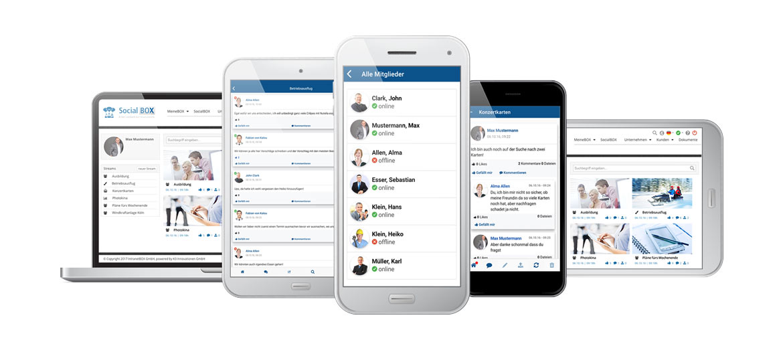IntranetBOX SocialBOX App alle Geraete