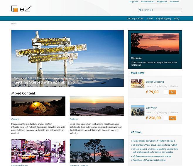 Demo-Zugang eZ Publish Demo Fullscreen