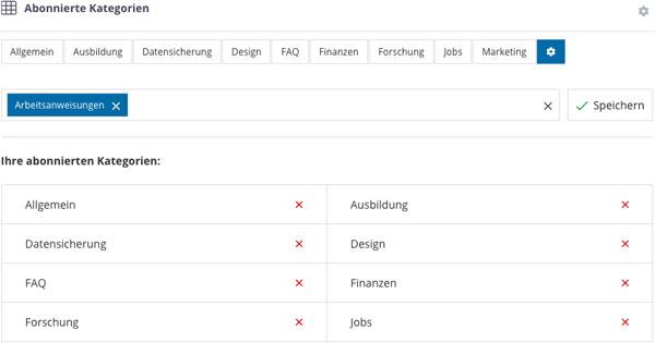 Intranet Software Abonnierte Kategorien speichern