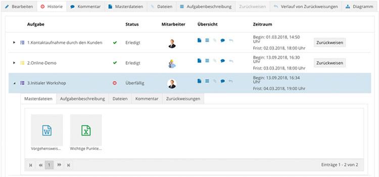 Workflow Software Uebersicht Historie